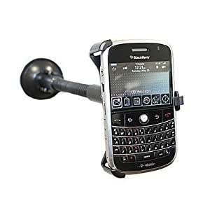 EMARTBUY DEDICATED SUCTION MOUNT HOLDER MADE TO MEASURE FOR BLACKBERRY BOLD 9000- INCLUDES A FREE CAR CHARGER
