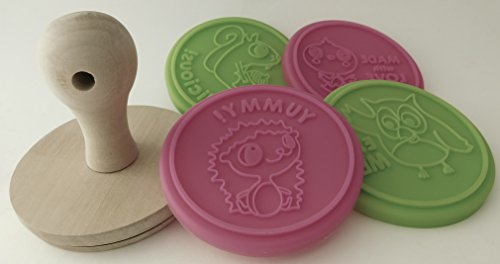 Cookie Stamp - Wooden Handle and 4 Silicone Interchangeable Cookie Stamper. Squirrel, Owl, Hedgehog, and chickey stamp. Each With Their Own Special Message. Design your own Cookies.
