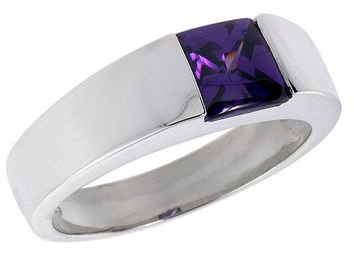 Sterling Silver 2.0 Carat Size Princess Cut Amethyst Colored CZ Men&#8217;s Solitaire Ring (Available in Sizes 8 to 13) size 8