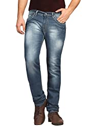 FN Jeans Stylish Navy Blue Slim Fit Low Rise Stone Wash Denim For Men | FNJ9158