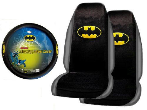 A Set Of 2 Universal Fit Batman Seat Covers And 1 Comfort Grip Steering Wheel Cover