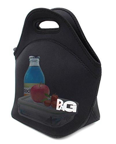 PAG Mini Neoprene Lunch Tote,reusable Lunch Bag, Small Lunch Bag for Kids, Black