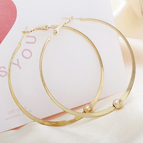 kathy store INC 1 Pairs Gold Color Fashion Wild Big Circle Earrings Bamboo 2.4 Inch Hoop Earrings