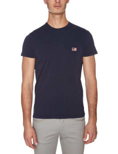 Wrangler Flag Printed Mens T-Shirt Navy Small