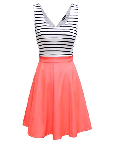 Omeya Womens Sexy Open Back Cocktail Slim Black White Striped Mini Dress (M, Coral)