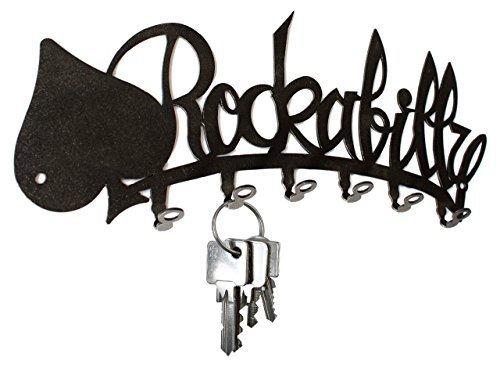 Schlsselbrett-Rockabilly-Hakenleiste-aus-Stahl-6-Haken-schwarz