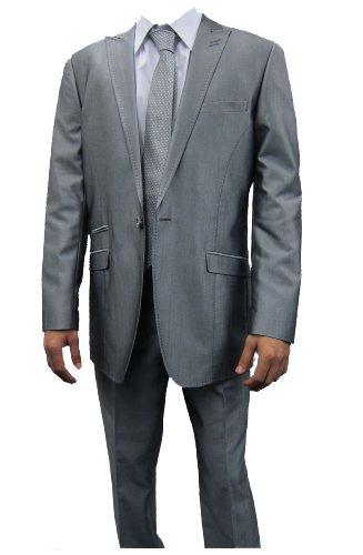Mens Marc Darcy Grey 2PC Suit, Jacket 42
