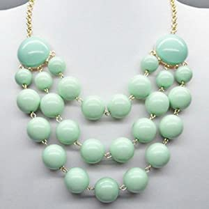 Beaded Multi Row Fashion Bib Statement Chain Necklace - Choose Color! (Mint)