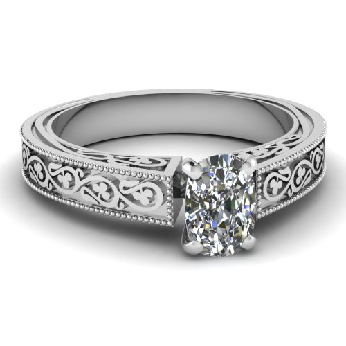 Fascinating Diamonds Antique Style Milgrain Engagement Ring 0.70 Ct Cushion Cut Si1-D Color Diamond Gia