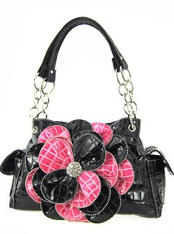 Stunning! 3d Raised Flower Croc Satchel Purse Laminated Croco Faux Crocodile Black/Hot Pink
