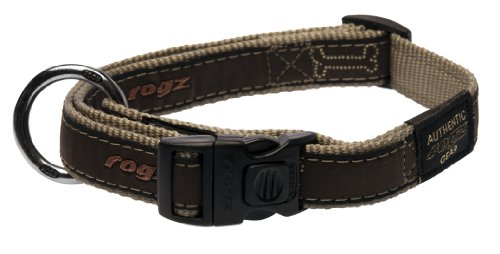 Rogz Fancy Dress Large 3/4-Inch Beachbum Dog Collar, Bronze Bone Design