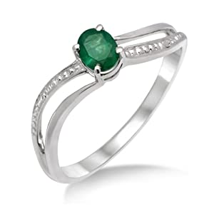 Miore - MA938RM - Bague Femme - Or blanc 375/1000 ( 9 carats) 1.34 Gr - Emeraude - T 52