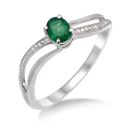 Gold Ring, 9ct White Gold, Emerald Ring, by Miore, MA938