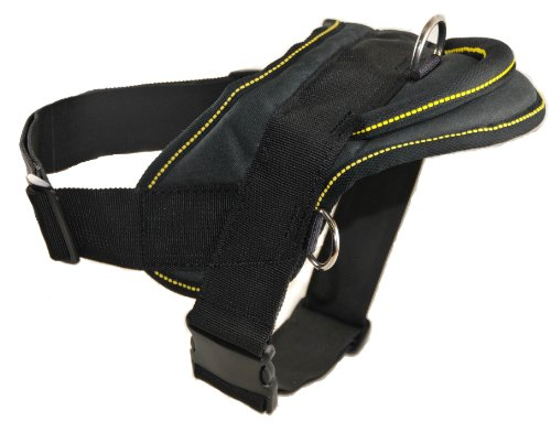 Dean and Tyler DT Dog Harness, Black With Yellow Trim, X-Large - Fits Girth Size: 34-Inch to 47-Inch