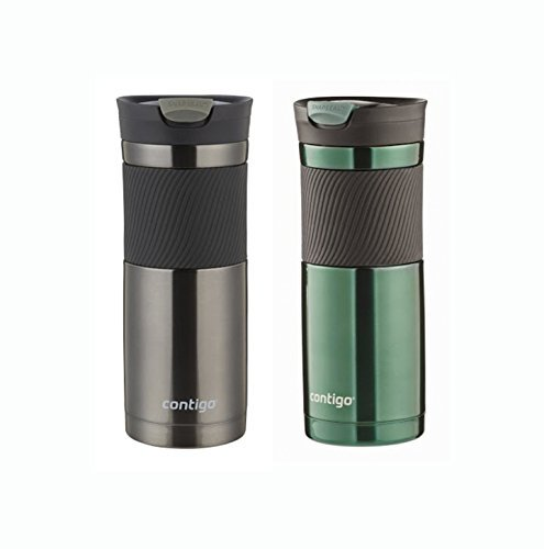 Contigo Byron Snapseal Vacuum Insulated Stainless Steel Travel Mug 2 Pack 20 Ounces, Greyed Jade and Gunmetal