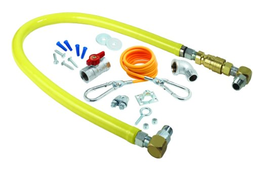 T&S Brass HG-4C-36SK Gas Hose with Quick Disconnect, 1/2-Inch Npt, 36-Inch Long, Installation Kit and Swivelink Fittings