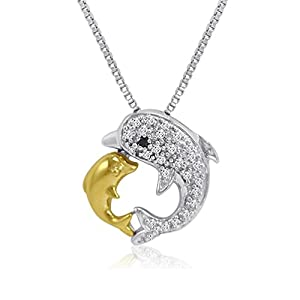 Sterling Silver and 14K Gold Kissing Dolphin Diamond Pendant-Necklace (1/10ct tw)