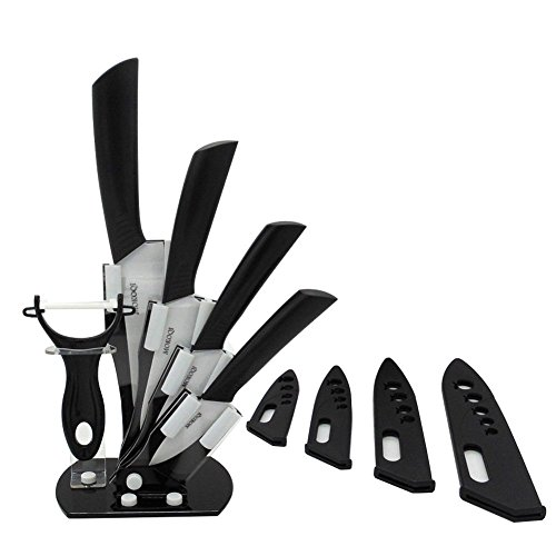 "MOKOQI Professional 7 Piece Ceramic Kitchen Knife Cutlery and Peeler Set - Includes 6"" Chef's, 5"" Slicing, 4"" Paring, 3"" Fruit Knife and One Peeler Plus Black Block & Scabbard (black)"
