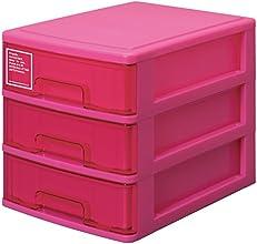 サンコープラスチック 収納引き出し シルキー 403 A4タイプ 3段 ピンク