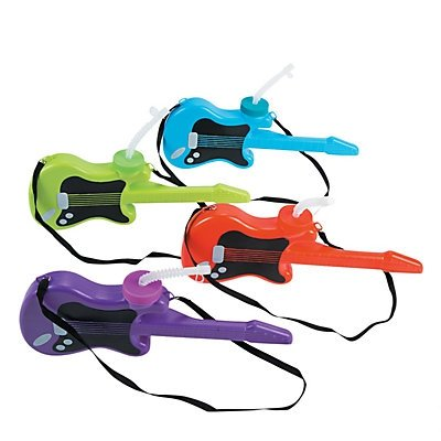 Guitar Molded Cups with Lids & Straws 2 units