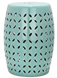 Safavieh Castle Gardens Collection Lattice Petal Ceramic Garden Stool, Light Blue