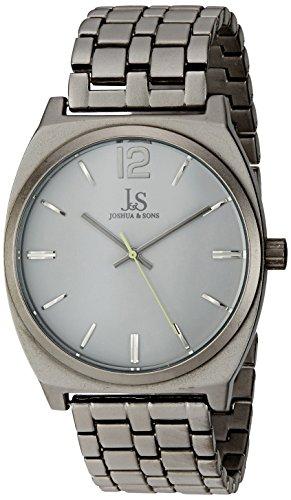 Joshua & Sons Reloj de hombre de cuarzo con Esfera Analógica Blanca Pulsera de aleación de pantalla y gris jx102gy