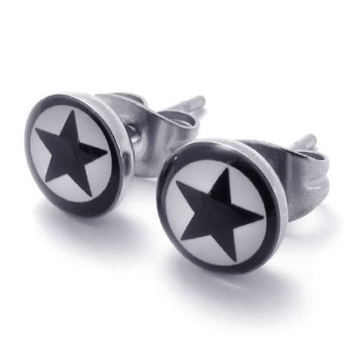 Konov Jewellery Two Tone Beautiful Unisex Mens Star Stud Stainless Steel Earrings, 2pcs, Color White Black (with Gift Bag)