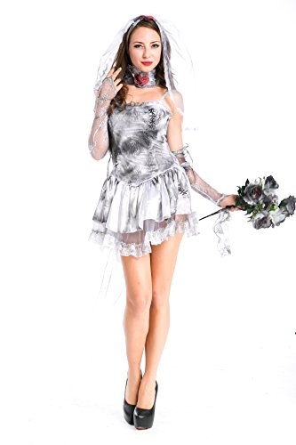 Voglee Women's Halloween Corpse Bride Costumes Party Lace Cosplay Dress