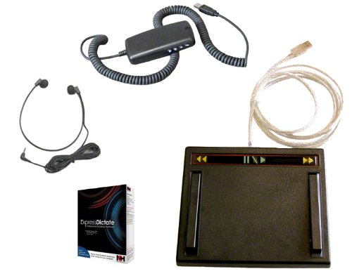 Usb Dictation Controller, Usb Transcription Foot Pedal, 3.5Mm Transcription Headset Hardware Package With Express Dictate Software