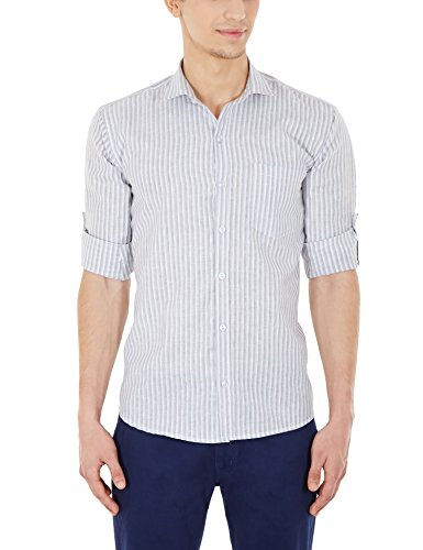 Blue Fire Men's Striped Full Sleeve Slim Fit Poly Cotton Casual Shirt (BF10080144)  available at amazon for Rs.299