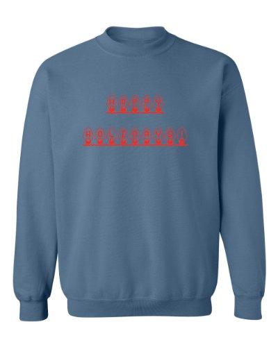 Festive Threads Christmas Sweater Design Happy Holidays Adult Sweatshirt (Indigo, 3-Xl)