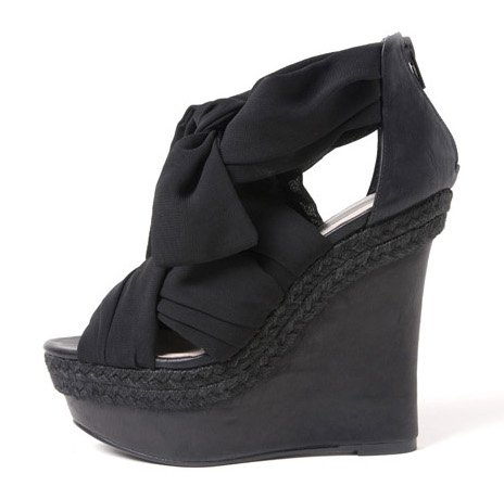 Fabric Wrapped Knotted Platform Wedge Sandals L2764, Black, 7.5 US