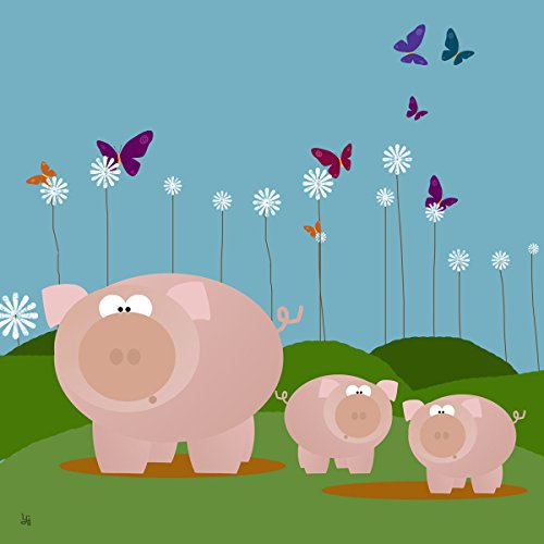Green Leaf Art Family Pigs Canvas Art