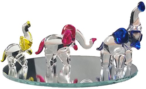 Hand Blown Glass Elephant Family Figurines |Miniature Glass Animal Decor & Bonus Display Mirror | Made in America by Flame Art Glass, Colored Large Carnival Glass