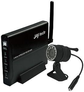 JAY-tech IR8103 Mini-Funk Überwachungskamera (2,4 GHz, für Tag / Nacht / Innen / Aussen, inkl. IR Sensoren) schwarz