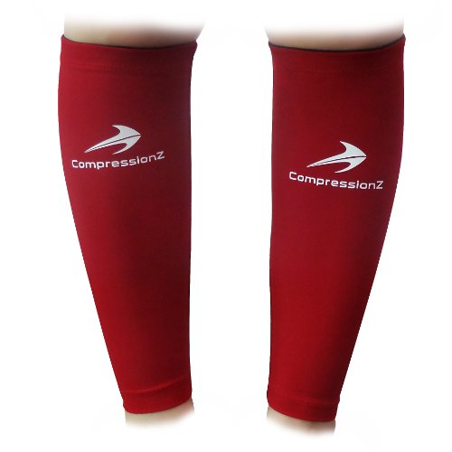 Calf Compression Sleeve (1 Pair/ Maroon - M) - Best to Guard Against Shin Splints - Men's and Women's Compression Leg Sleeves for Running, Jogging, Walking, Marathon and Fitness Athletes - Comfortable