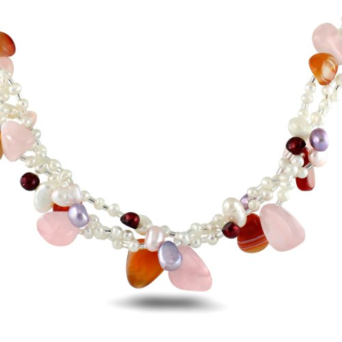 Sterling Silver Red Agate, Rose Quartz and Freshwater Cultured Pearl Necklace, 18