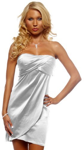 Strapless Tube Pleated Evening Prom Cocktail Party Satin Womens Mini Dress, Medim, White