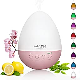 350ml Essential Oil Diffuser For Aromatherapy, Long Running Time, Auto Shut Off, Lights in 8 Colors, Latest Ultrasonic Electric Cool Mist Aroma Humidifier Tech, Hayman Essentials Teardrop Orchid Pink