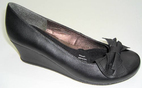 Size 7 The Leather Collection Womens Sallie Black Round Toe Wedge Heel Court Shoes