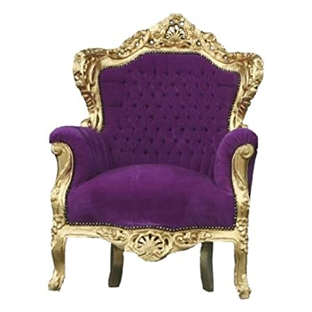 Baroque Armchair 'King' Purple / Gold