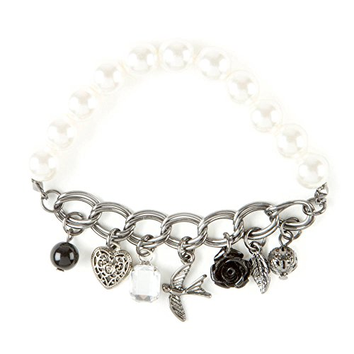 Claire'S Accessories Girls Pearl And Hematite Chain Stretch Charm Bracelet