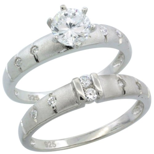 Sterling Silver 2-Piece 1 Carat Size Engagement Ring Set CZ Stones Rhodium finish, 1/8 in. 3.5 mm, Size 8