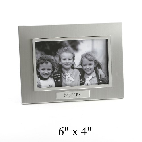 Sisters Photo Frame In Brushed Aluminum With