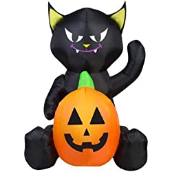 Gemmy Airblown Inflatable 4-ft X 3-ft Cat Pumpkin Duo
