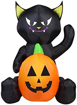 Gemmy Airblown 4' X 3' Cat Pumpkin Duo