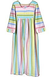 Women's Striped Fleece Housecoat Robe