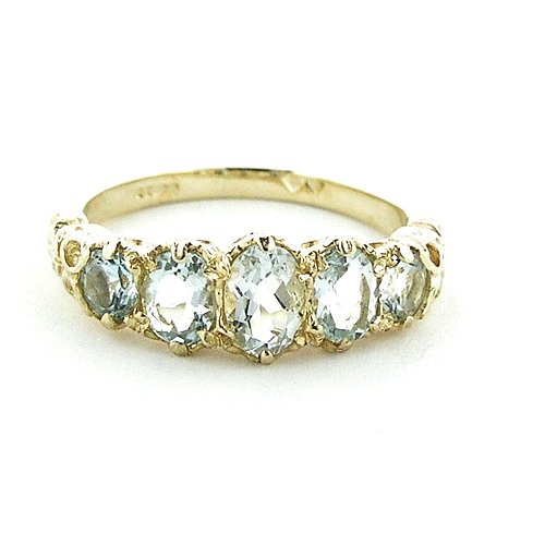 High Quality Solid 14K Yellow Gold Natural Aquamarine English Victorian Ring - Size 9.75 - Finger Sizes 5 to 12 Available - Perfect Gift for Birthday, Christmas, Valentines Day, Mothers Day, Mom, Mother, Grandmother, Daughter, Graduation, Bridesmaid.