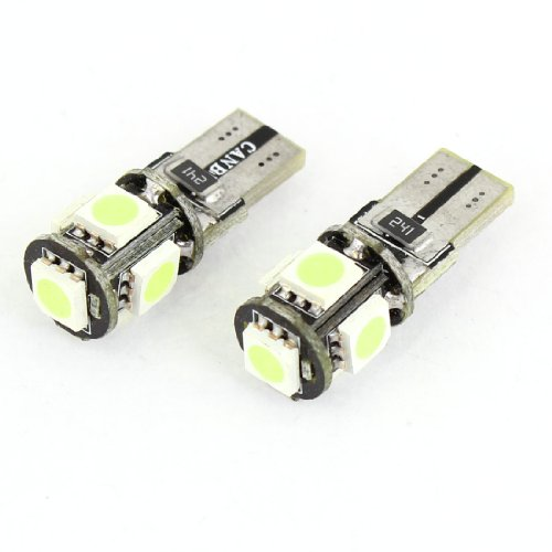 Pair W5W T10 5050 Smd 5 White Led Car Auto Canbus Error Free Lamp Bulb