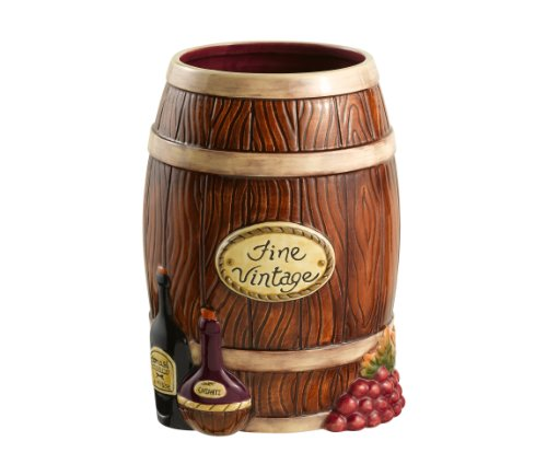 Grasslands Road In Vino Veritas Ceramic Wine Barrel Wine Bottle Holder, 8-Inch